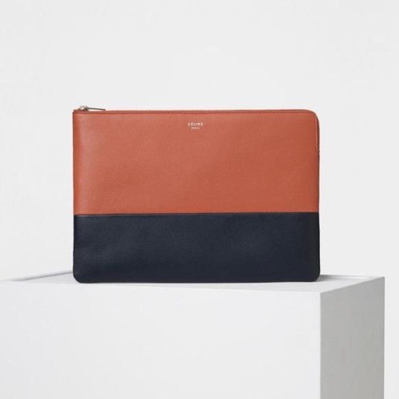 Celine Handbags - Auth New Celine Bi-color Solo Clutch Pouch Leather 0884354866730